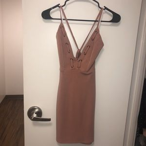 Peach v neck lace up mini dress